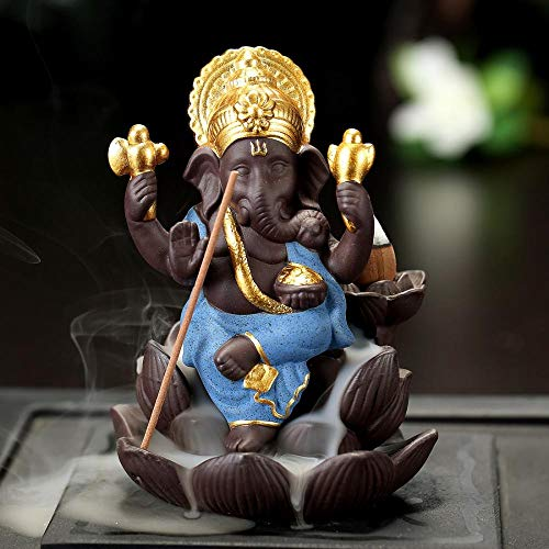 (Elephant Incense Holder, Backflow Incense Burner Holder Ceramic Handmade Figurine Incense Cone Holders Home Decor Gift Decorations Statue Ornaments with 10 Cones, Thai Style (Blue, 9.5x12x8CM))