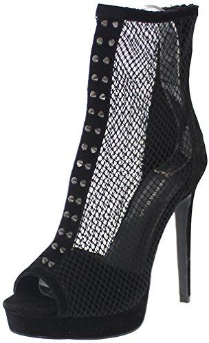 Black Spike Heel - Shoe Republic Platform Fishnet Bootie w/Spikes Mygal (Black 8.5)