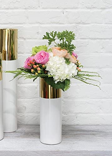 Afloral White and Gold Ceramic Cylinder Floral Vase – 12 Tall
