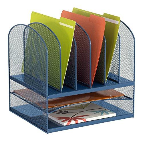 Modern Mesh Desktop Document Folder Organizer for Space Saving Work Place (Blue)