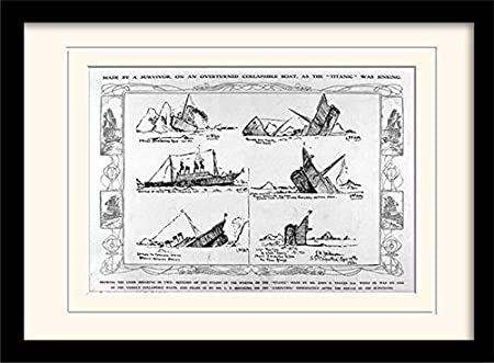 Titanic Sinking Diagram Mounted And Framed Print Multi Colour 30