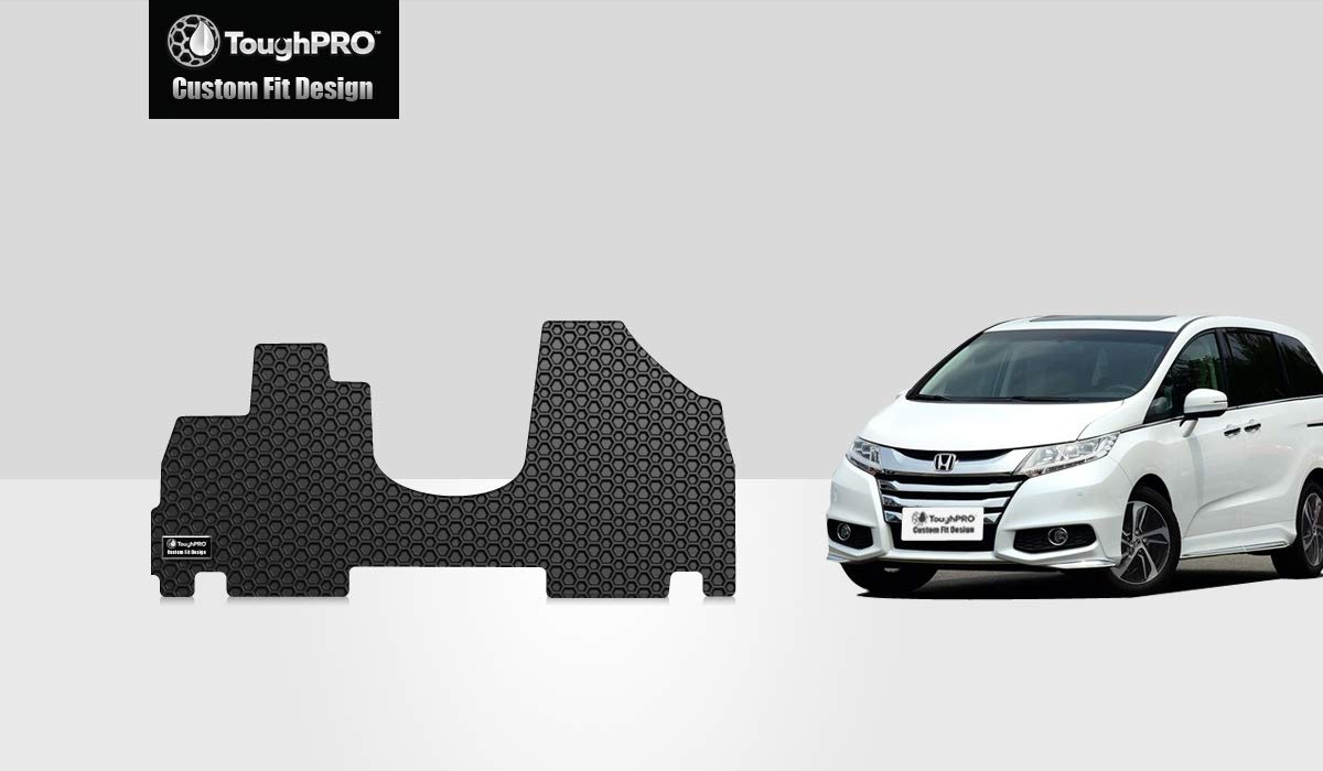 ToughPRO Front Floor Mat Set for Honda Odyssey - All Weather - Heavy Duty - Black Rubber - 2011-2017