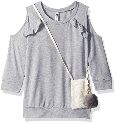 Beautees Big Girl's Ruffle Fashion Top Shirt, Heather Grey, M