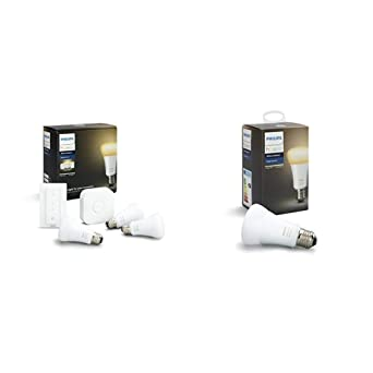 Philips Hue White Ambiance - Kit de 4 bombillas LED E27 con puente e interruptor, 9.5 W, ...