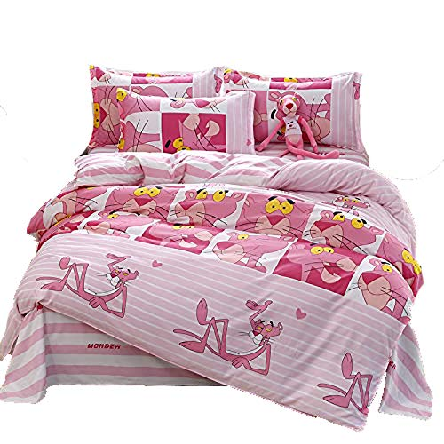 KFZ Bed Set Bedding Set Twin Full Queen King Size Sheets Set Duvet Cover Flat Sheet Pillow Cases No Comforter FD Panther Mask Sweet Moon Leaf Design for Kids (Panther Mask, Pink, King 86