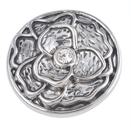 Souarts Antique Silver Color Folower Round Rhinestone Snap Button Jewelry