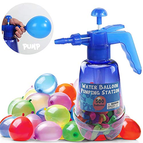 Liberty Imports Water Balloon Pumping Station with 500 Water Balloons and Water Pump for Kids (Blue Color)