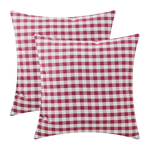 (Plaid Throw Pillow Covers for Couch - 2 Pack,Soft Polyster Cotton,Small Buffalo Check Pattern - Decorative Sofa Cushion Covers,Square Pillow-cases for Living Room,Bedroom,Car(Burgundy,18 x 18 Inch) )