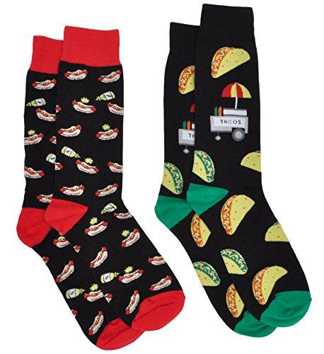 Men's Novelty Socks Trouser Dress - 2 Pair Set - Choose Print (Tacos & Hot Dogs) -