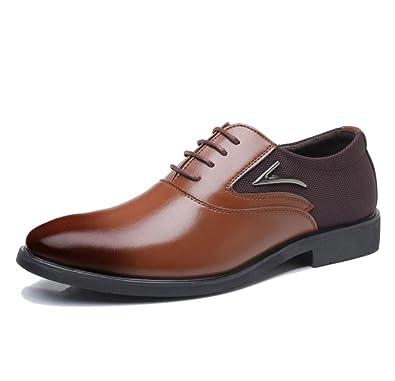 LEDLFIE Chaussures en Cuir pour Hommes Business Dress Casual Chaussures pour Hommes,Brown-38