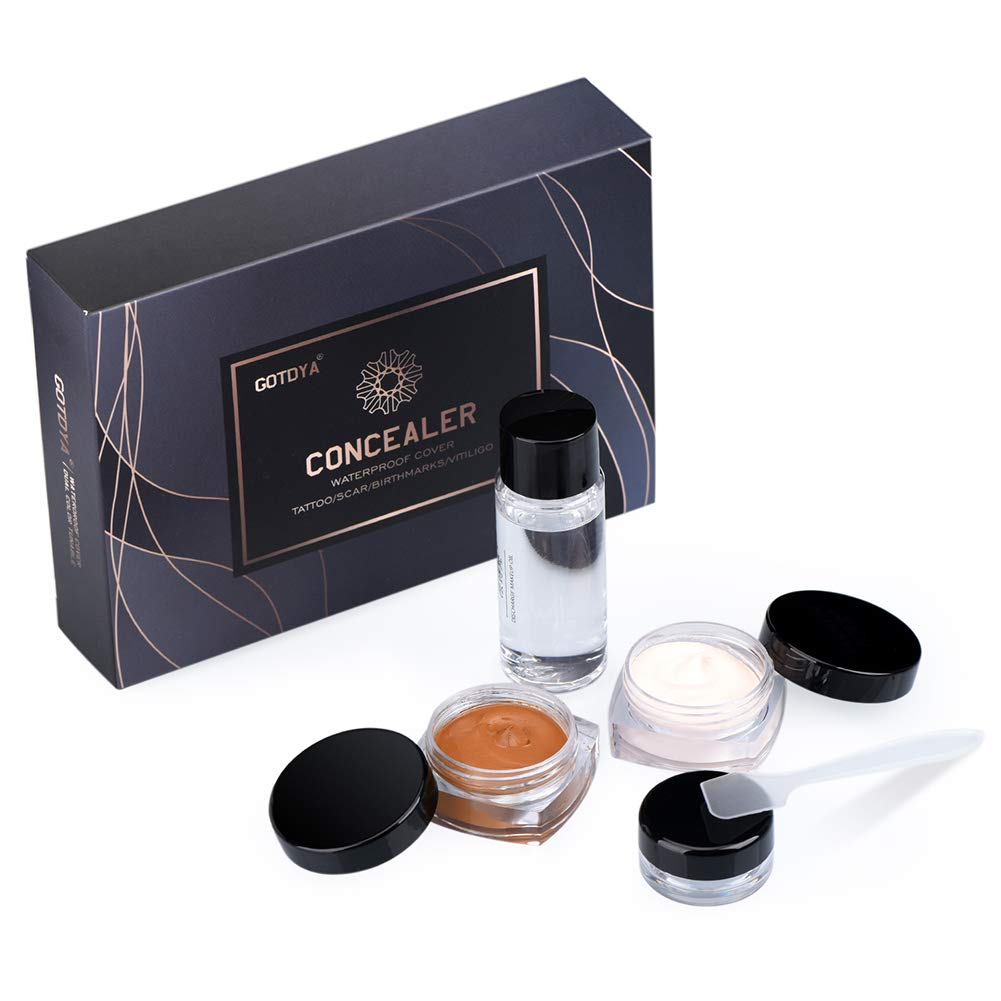 Tattoo Cover Up Makeup Waterproof Concealer Set, Professional Concealer Cream Kit to Covers Vitiligo/Birthmarks/Scar/Tattoos and other Skin Dark Spots