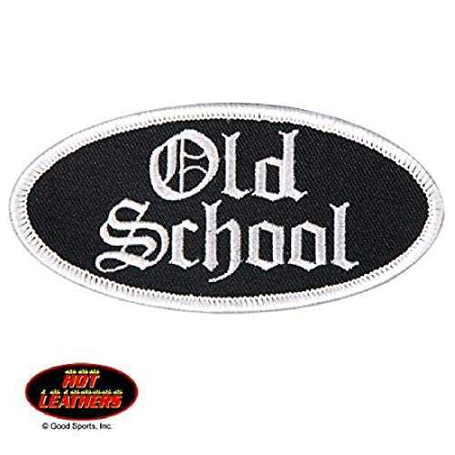 """Hot Leathers, OLD SCHOOL OVAL, High Thread Embroidered Iron-On / Saw-On Rayon PATCH - 4"""" x 2"""", Exceptional Quality"""