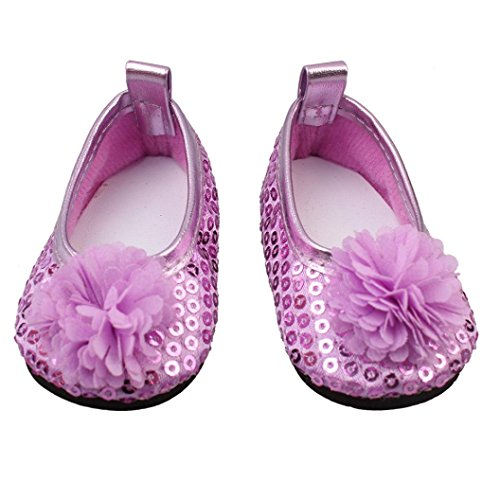 Witspace Glitter Doll Shoes Flowers Dress Shoe For 18 Inch Our Generation American Girl Doll