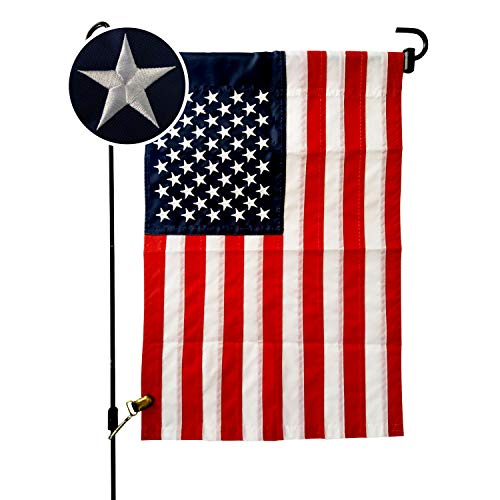 VIEKEY American Flag Garden Flag 12.5 x 18 Inch US Garden American Flag Embroidered Stars and Sewn Stripes