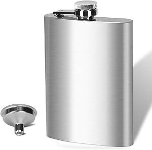 BEDEONE 8 Oz Flask for Liquor for Men, Leakproof Drinking Flask with Funnel, Stainless Steel Flask Hip Flask Set, Camping Pocket Flask, Laser Weleded Screw Cap, Ideal for Gift