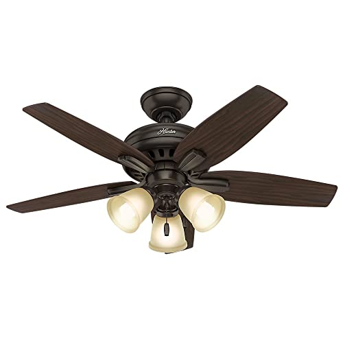 Hunter Indoor Ceiling Fan, with pull chain control – Newsome 42 inch, Premier Bronze, 51084