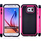 Galaxy S6 Case, S6 Shockproof Case, Shock Absorption Hybrid Rugged Triple Layer High Impact Body Armor Defender Full Protective Ballistic Pink And Black Hard PC & TPU Silicone Skin Cover Case For Samsung Galaxy S6 (Ballistic Pink S6)