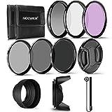 Neewer 58MM Profesional UV CPL FLD Lente Filtro y ND Filtro de Densidad Neutra(ND2, ND4, ND8) Kit de accesorios para Canon Rebel y EOS Cámara