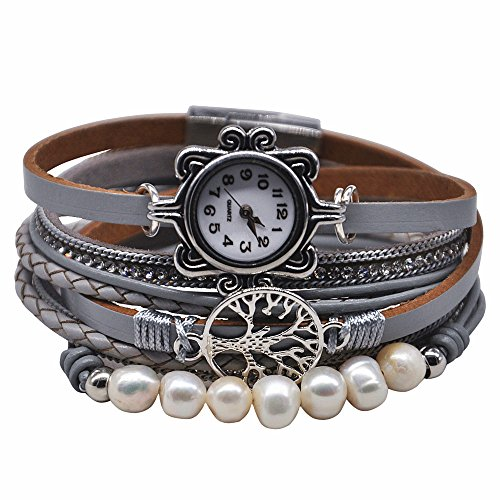 Around Pearl Wrap (MINILUJIA Vintage Casual Bohemian Style Women Leather Watch Small Watch Face Double Wrap Around Watch with Tree Pearl Magnetic Clasp Grey Strap (11.8