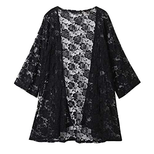 Women's Lace Shirt Embroidered Beach Sunscreen Clothing Cardigan Black