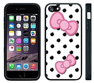 Apple iPhone 6 Black Rubber Silicone Case - Cute Black Polka Dots with Pink Bows
