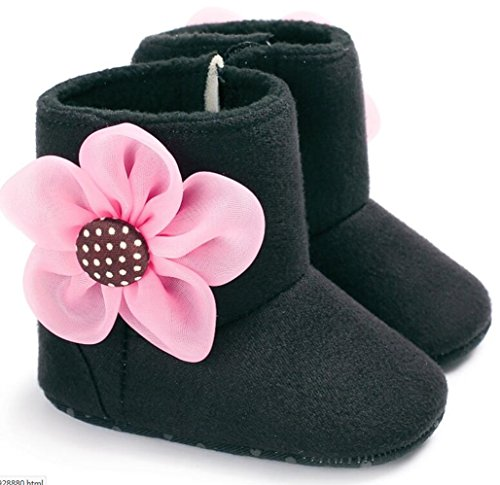oft Sole Flower Anti-Slip Mid Calf Snow Boots Warm Winter Infant Prewalker Shoes (12-18 months, Black) ()