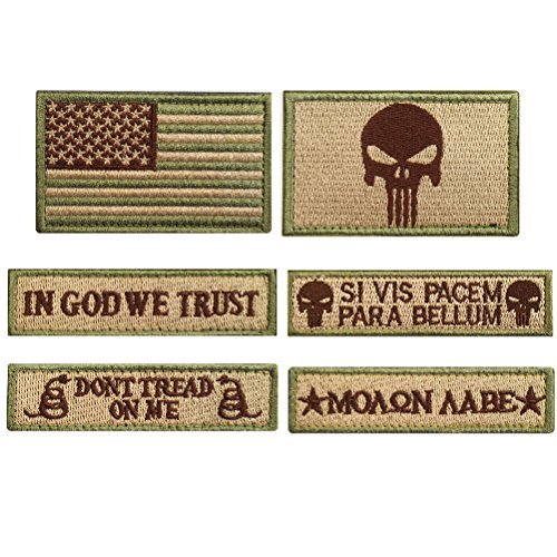 CREATRILL Bundle 6 Pieces Tactical Military Morale Patch Set (Tan)