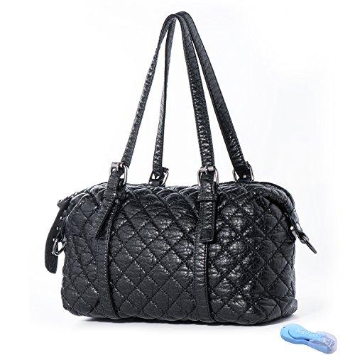 Shoulder Bag Vegan Leather Handbag for Women Cross Body Purse Soft Quilted Barrel Baguette Bags Katloo by Katloo