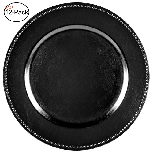 Black Melamine Round Plate - Tiger Chef 13-inch Black Round Beaded Charger Plates, Set of 12 Dinner Chargers (12-Pack)