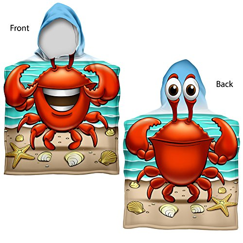 Dawhud Direct Kids Crabbie Cotton Hooded Poncho Bath/Beach Towel