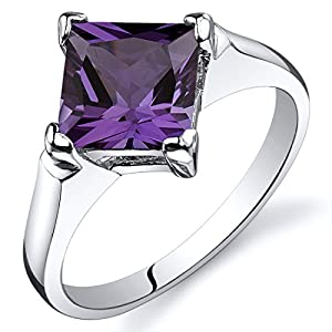 Peora Simulated Alexandrite Engagement Ring in Sterling Silver, Classic Designer Solitaire, Princess Cut, 7mm, 2.25…