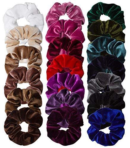 Jaciya 20 Pack Velvet Scrunchies Elastic Scrunchy Hair Bobbles Elastics Hair Ties Bands Hair Accessories Soft Elegant Elastic Hair Bands Hair Ties Ponytail Holder, 20 Colors by Jaciya