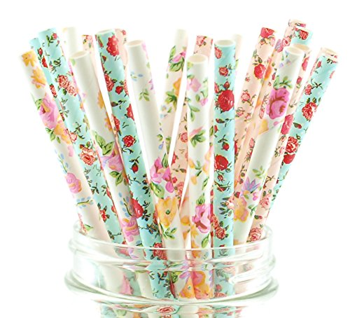 Food with Fashion Pink, Blue & White Wedding Floral Party Straws (75 Pack) - Formal Flower Baby Shower Supplies, Wedding Reception Dinner Straws, Elegant Birthday Party -