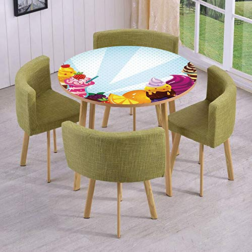 (iPrint Round Table/Wall/Floor Decal Strikers/Removable/Yummy Menu with Chocolate Raspberry Cherry Orange Strawberry Flavors Image Decorative/for Living Room/Kitchens/Office)