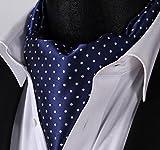 SetSense Mens Polka Dot Jacquard Woven Self Cravat Tie Ascot