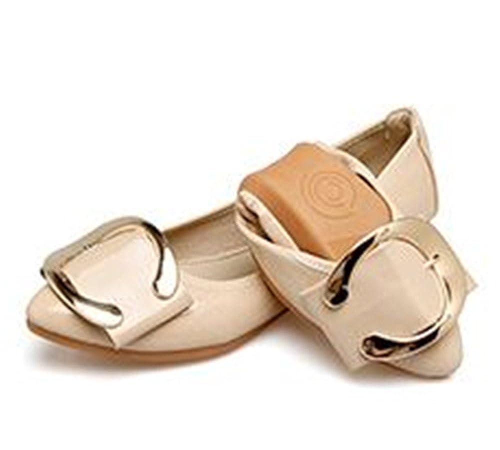 FLourishing Womens Pointy Toe Solid Plain Ballet Flat Buckle Slip On Walking Flats Shoes