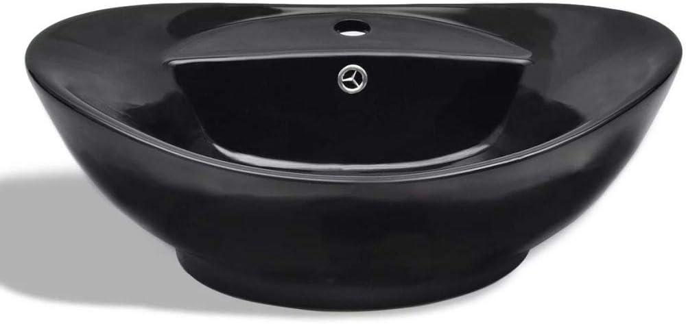 vidaXL Vasque Ovale /à Trou Trop-Plein//Robinet C/éramique de Salle de Bain Noir