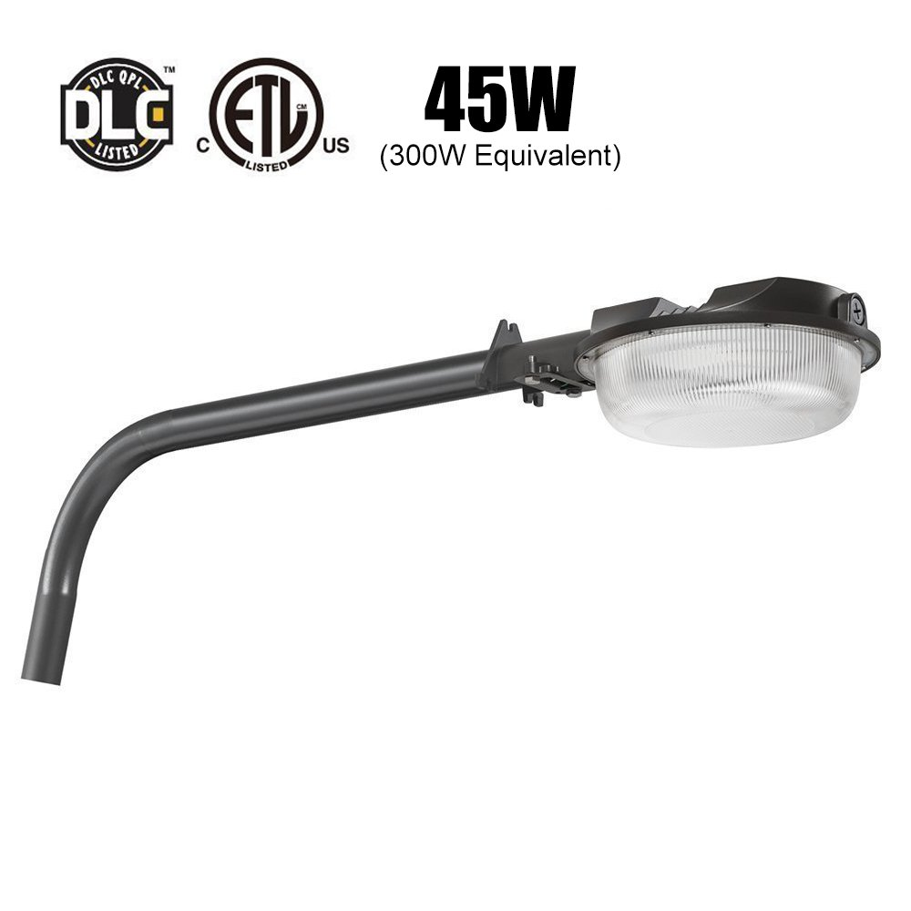 Outdoor Dusk to Dawn LED Barn Light with Arm(Photocell include) 300W Equivalent Dott Arts 5000K Daylight,6000lm LED Yard Light with DLC & ETL-listed,Outdoor Wall Mount Overnight Security Light