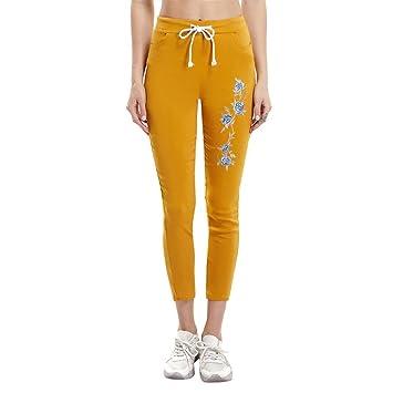 LANSKIRT Damen Stickerei Leggings Hose, Hohe Taille Pants   Dünne Hosen    Sport Fitness Workout 1fa6c4a33d