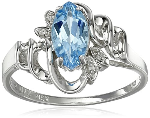 10k White Gold Marquise Swiss Blue Topaz and Diamond Accent Ring, Size 7 (Ring Topaz Marquise)