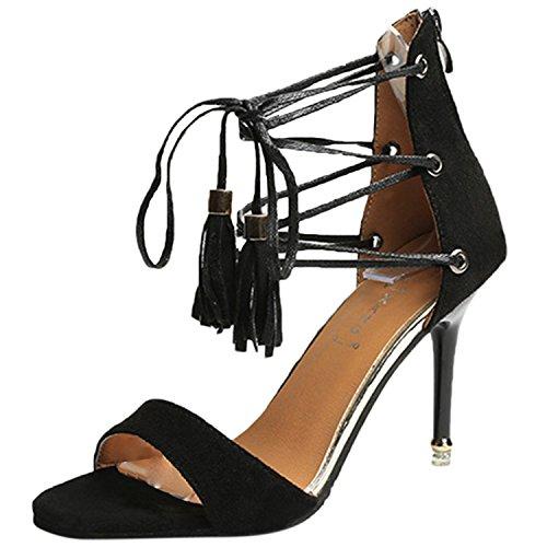 Azbro Mujer Sandalias de Tacón Alto Estilete Puntera Abierta Cordón-arriba con Borlas Negro