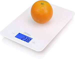 AVLT Food Digital Kitchen Scale with Tempered Glass - Touch Sensitive Pad- Accurate Optimum Nutrition - LB/OZ/ML/FL/G- White