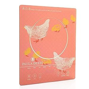 Paula Deen 1500W Glass Programmable Induction Cooker Hens & Chicks Light Red