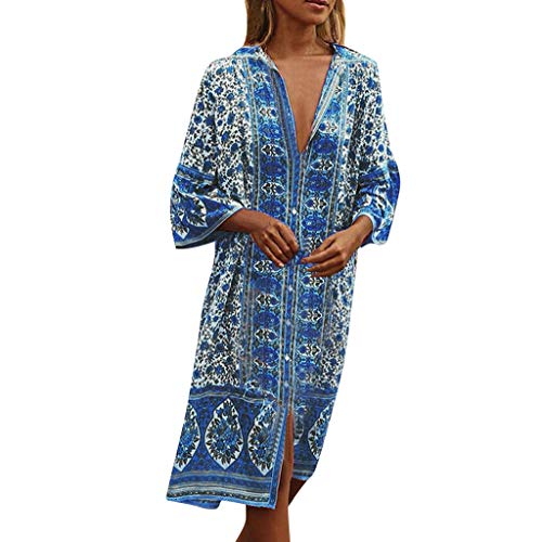 RAINED-Women Summer Maxi Dress Boho Flowers Print Button Down Flare Sleeve Loose Dress Cotton Linen Loose Tunic Dress Blue