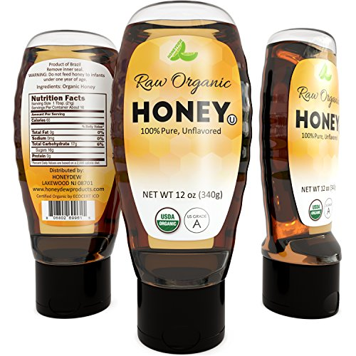 Raw Honey Organic USDA Certified Kosher Brazilian Honey for Eating - All Natural Sweetener for Tea - Promotes Weight Loss - Honey for Face - Natural Skin Care for Acne - Rich in Antioxidant Vitamin C