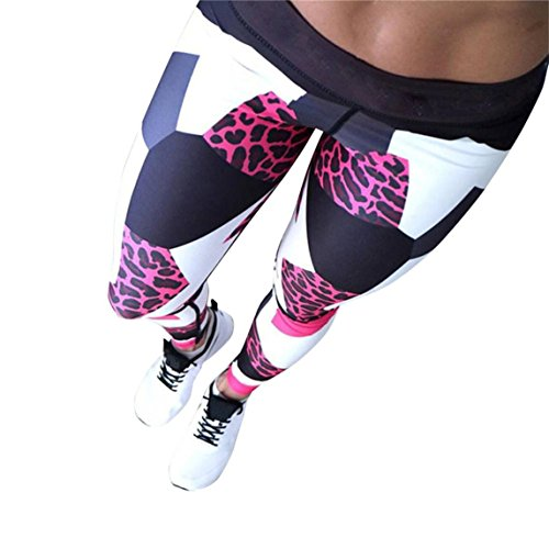 Nadition Clearance !!! Women Geometry Print Sports Gym Yoga Workout Athletic Leggings Pants (Red, S)