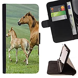 Super Marley Shop - Leather Foilo Wallet Cover Case with Magnetic Closure FOR Samsung Galaxy S3 MINI I8190- Horse Cute