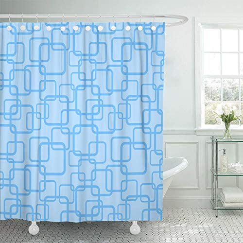 Abaysto 1950S Blue Squares Pattern 1960S 1940S Retro 1970S Bathroom Decor Shower Curtain Sets with Hooks Polyester Fabric Great -