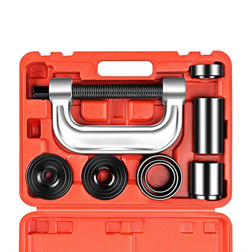 OrionMotorTech Heavy Duty Ball Joint Press & U Joint Removal Tool Kit with 4x4 Adapters, for Most 2WD and 4WD Cars and Light Trucks -