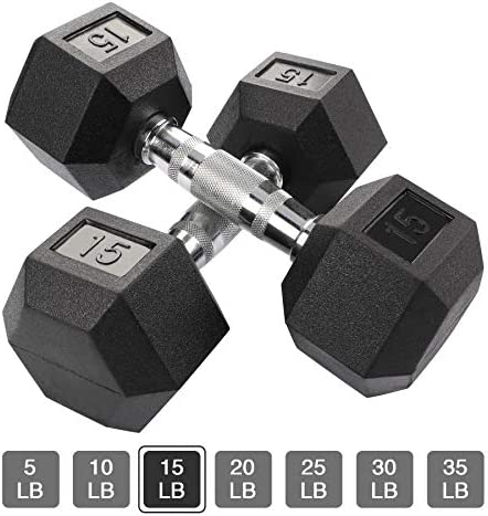 Aimyoo Hex Rubber Dumbbell with Metal Handle for Strength Training Full Body, Weight Loss, Home Fitness, Fitness Dumbbells 5lbs, 10lbs, 15lbs, 20lbs, 25lbs, 30lbs, 35lbs in Pairs or Singles
